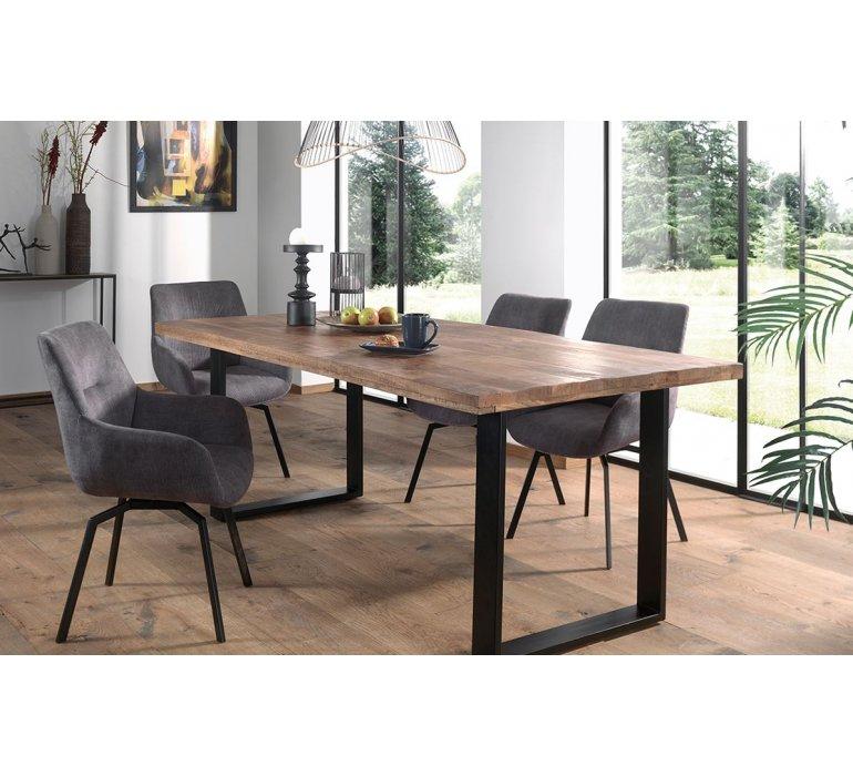 Table à manger 200 cm bois massif manguier et métal BAPTISTE