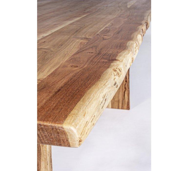 Table à manger bois massif scandinave effet tronc d'arbre TRADBORJ