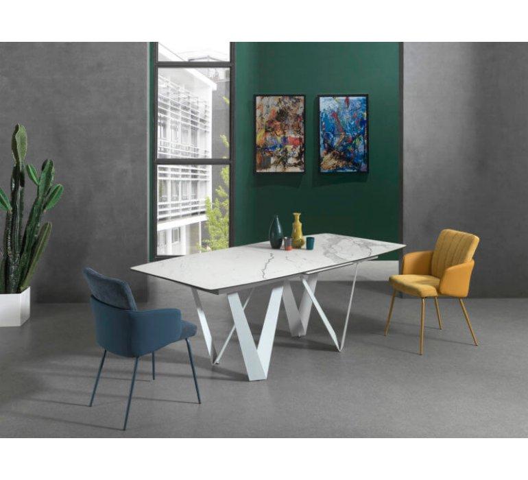 Table à manger en céramique blanc marbrée avec rallonge ARES