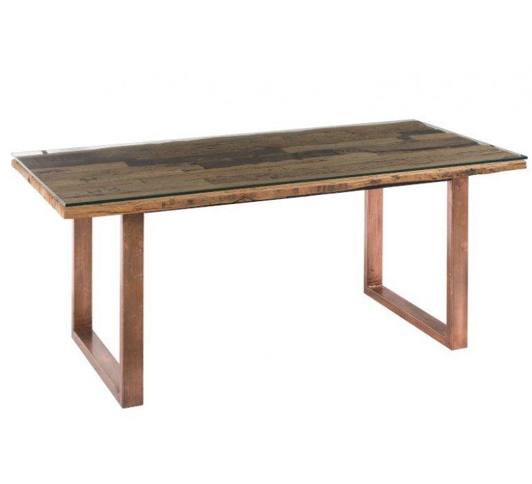 Table à manger industrielle en bois et verre CUPPER