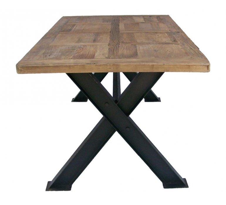Table à manger industrielle bois massif et métal 200cm DAKOTA