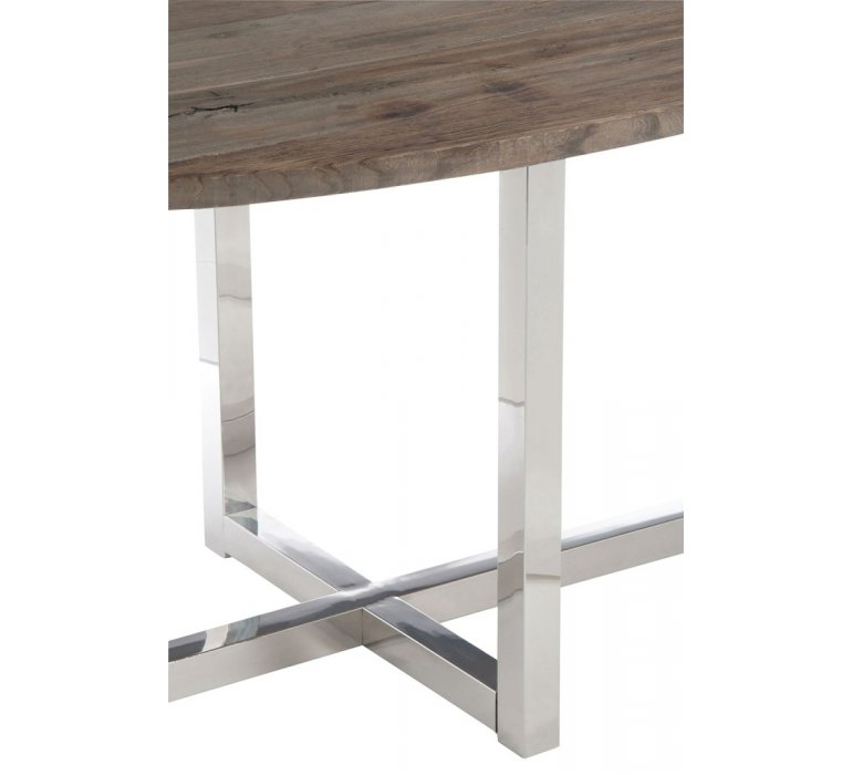 Table à manger ovale bois et inox 200 cm ROVANA