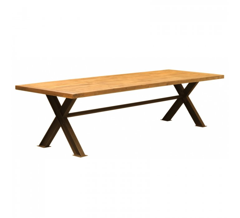 Table à manger style industriel bois massif 300 cm DAKOTA