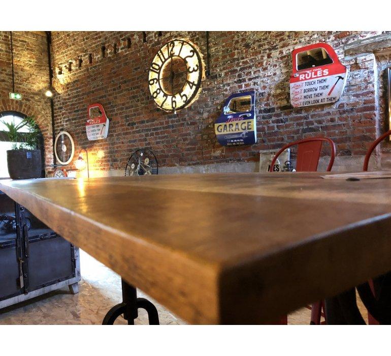Table à manivelle métal et bois industriel FACTORY