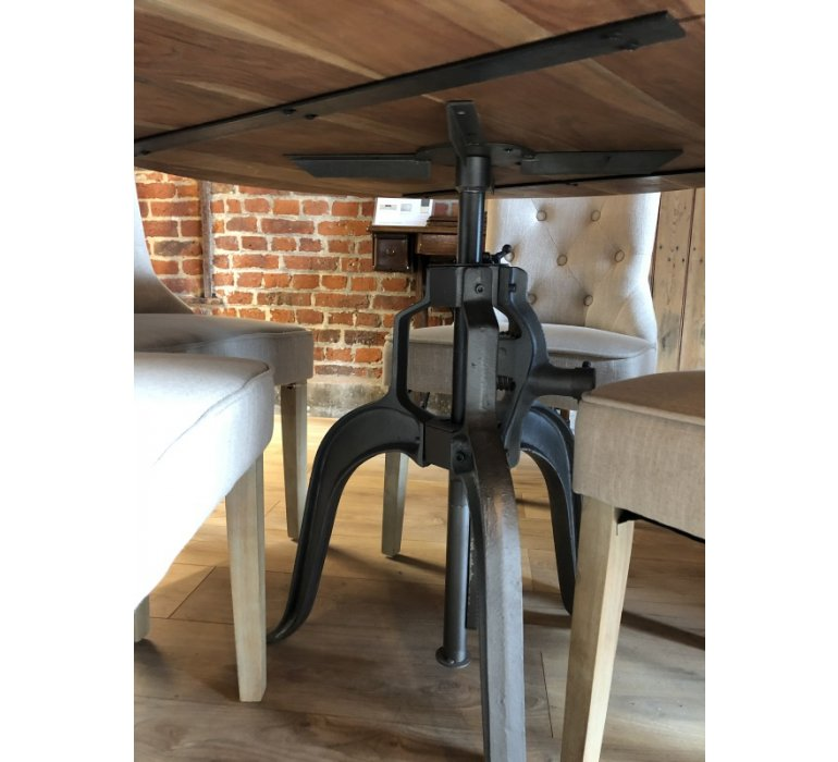 Table à manivelle ronde bois et métal industriel SQUARE