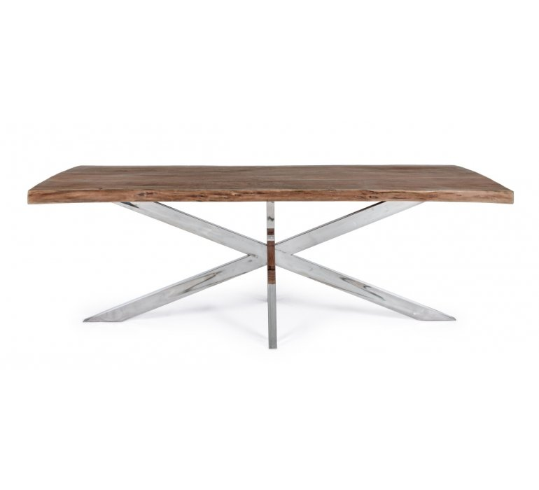 Table moderne bois massif 220 cm piétement étoile KANSAS