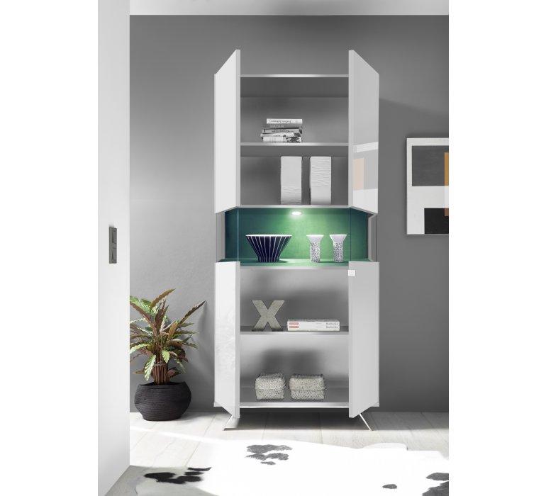 Vaisselier design blanc laqué éclairage LED EPURA