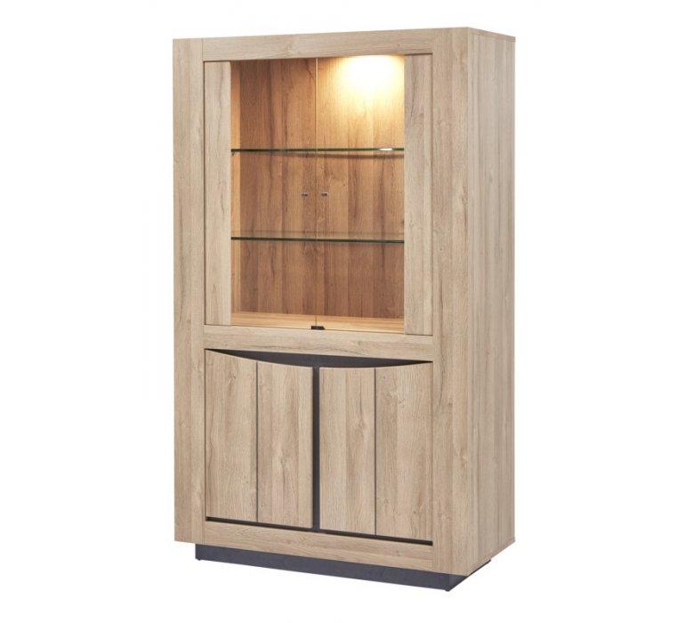Vaisselier moderne lumineux bois clair LENSON
