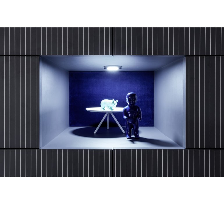 Vaisselier moderne lumineux gris ROCCA