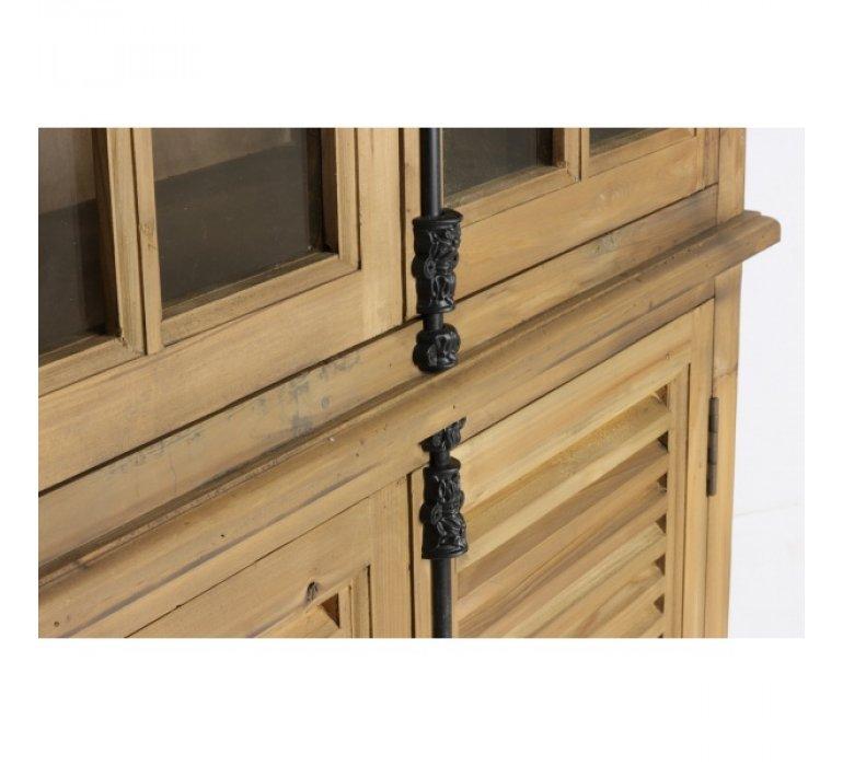 Vitrine en bois massif naturel recyclé 4 portes et 3 étagères PINOT