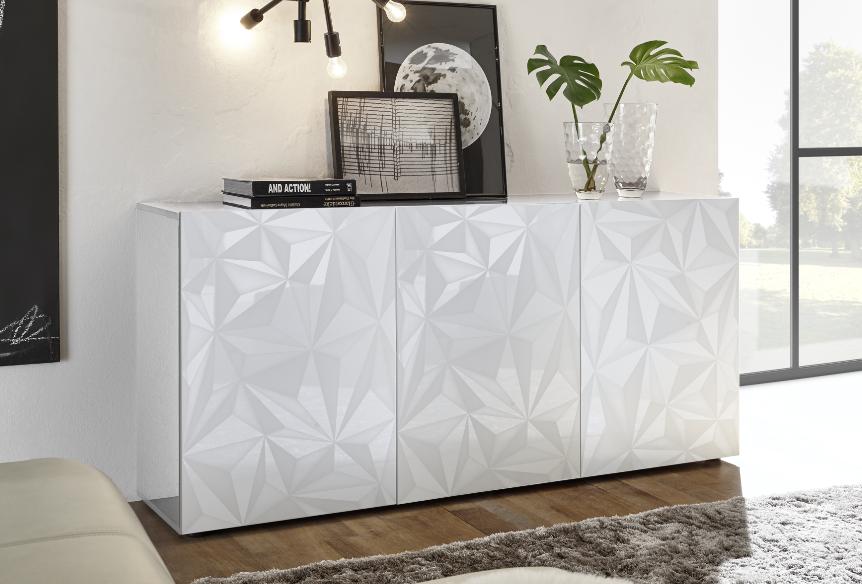 Buffet 3 portes design blanc avec motifs géométriques