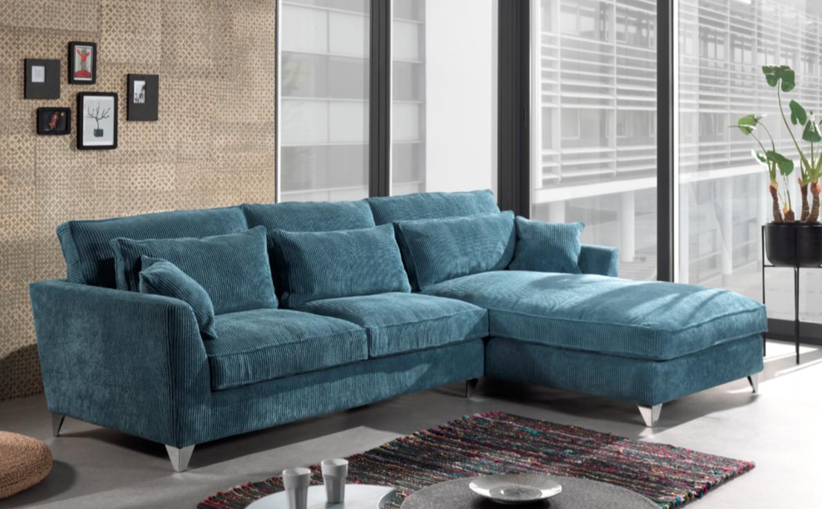 Canapé En Velours Cotelé canapé d'angle scandinave tissu velours côtelé bleu finlande