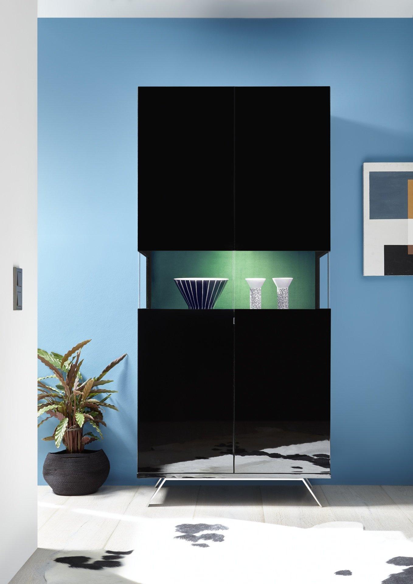 Vitrine Design Noir Laqué éclairage LED SERENITY