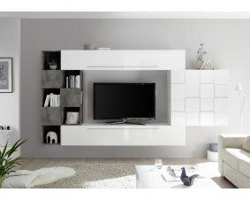 meuble tv en bois laque metal