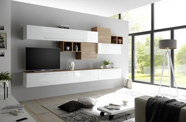 Meuble tv suspendu blanc laqué et bois